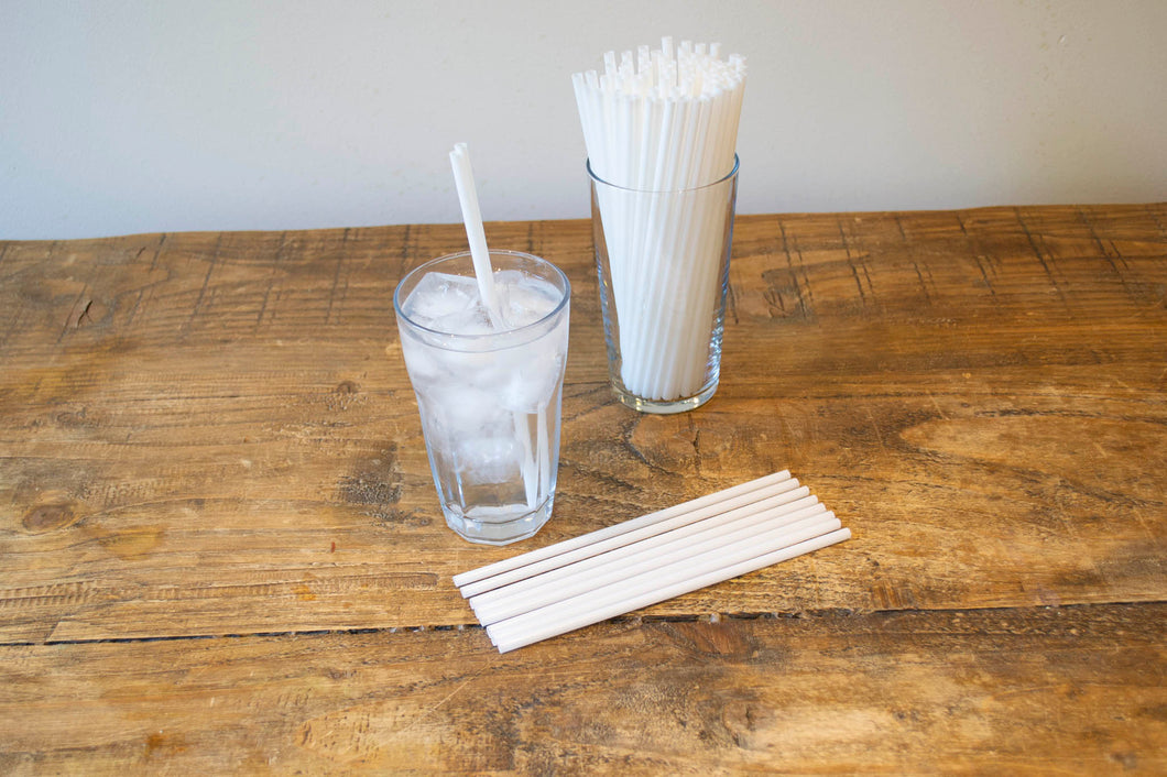 Biodegradable White Straight Straw 6mmx8inch
