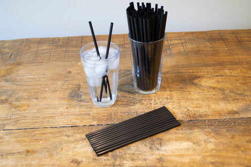 Black Straight Straw 6mm x 8inch