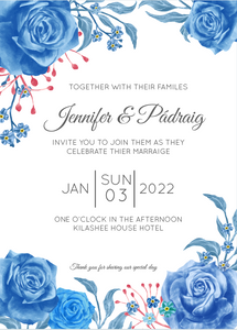 Blue Rose Decorative Invitation