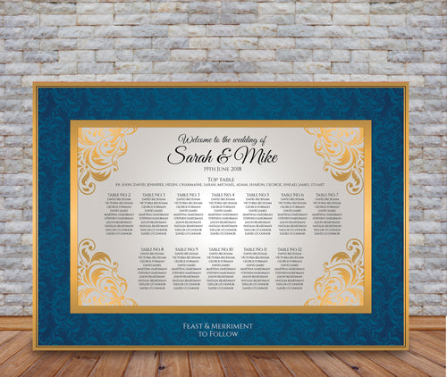 Blue Damask & Gold Table Plan