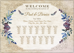 Watercolour Floral Mediterranean Table Plan