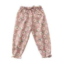 Load image into Gallery viewer, Girls Floral Pants Drawstring Pants