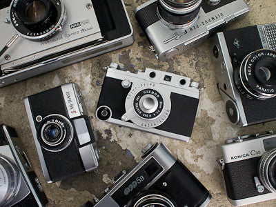 Gizmon iCA iphone case with other vintage retro cameras