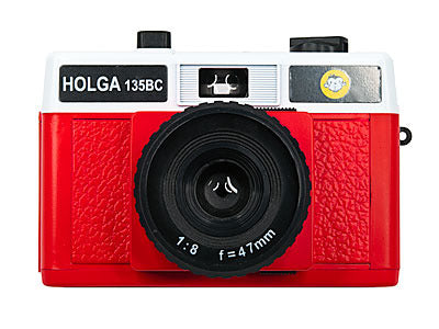 Holga 135BC camera in red and white colors