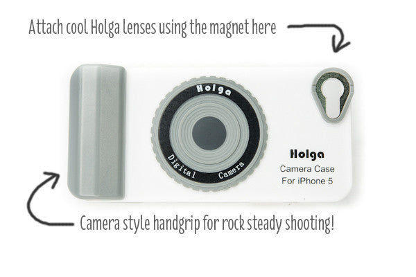 Attach the lenses with the magnet and hold with the camera grip