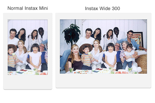 Comparison of normal Instax Mini image size with the Wider size