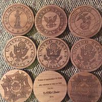 Laser Engraved Wood Challenge Coins supplied at time of request.