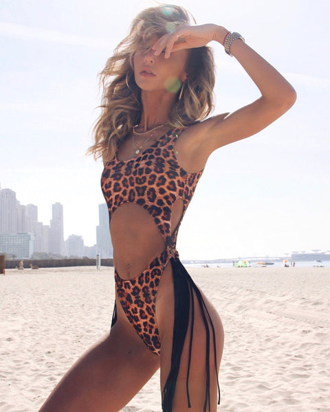 Wholesale Swimsuit Sexy Openwork Rim Tassel One-Piece Bikini