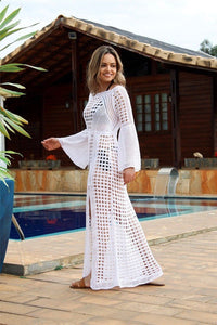 Wholesale White Sexy Empire Hollow Beach Cover-ups Dress