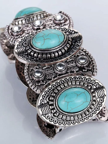 Wholesale Vintage Ethnic Style Alloy Plated Ancient Silver Turquoise Bracelet