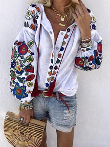 Women's Athleisure Single-Breasted Embroidery Blouse