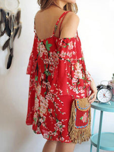 Chiffon Red Floral Printed Straps Off-the-shoulder Mini Dress