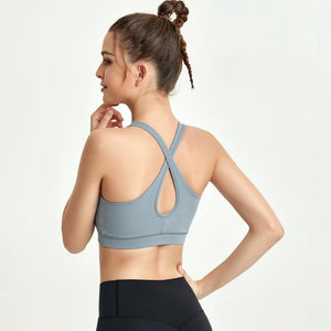 Wholesale Cross Back Yoga Vest Shockproof Sports Underwear Without Steel Ring Gather Fitness Running Bra Yoga Suit