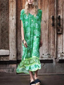 Human Cotton Positioning Printing Green V-Neck Bikini Blouse Midi Dress