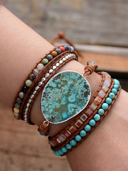 Wholesale Bohemian Handmade Natural Stones Leather Wrap 5 Layer Bracelet