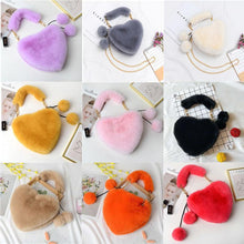 Load image into Gallery viewer, Wholesale Solid Color Rabbit Bag Imitation Rex Rabbit Plush Heart-shaped Female Handbag Fashion Plush Heart Love Bag