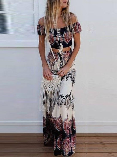 Print Off Shoulder Tube Top High Waist Skirt 2 Pieces Set