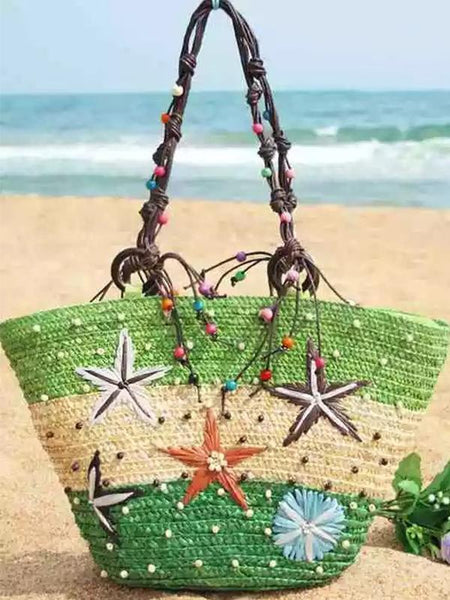 Wholesale Bohemia Starfish Embroidery Seaside Holiday Beach Straw Shoulder Bag
