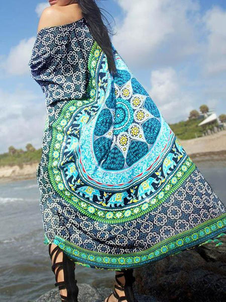 Wholesale Casual Beach Vacation Bohemia Printed Half Sleeve Cover-up Tops