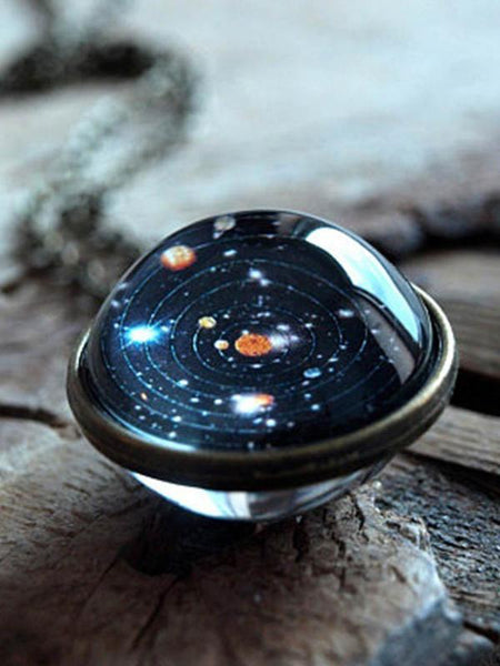 Wholesale Universe Solar System Pendent Double-Sided Glass Ball Necklace