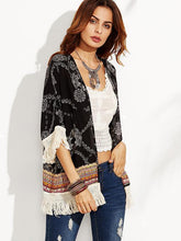 Load image into Gallery viewer, Beautiful Floral-Print Tassel Half Sleeve Beach Cover-Ups