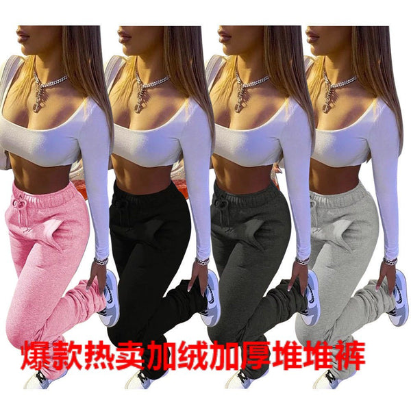 Wholesale Autumn and Winter Women's Plush Fabric Sports Drawstring Leisure Pocket Pile Pants