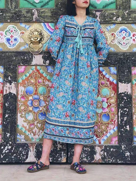 Wholesale Romantic Blue Floral 3/4 Sleeve Bohemia Dress Maxi Dress