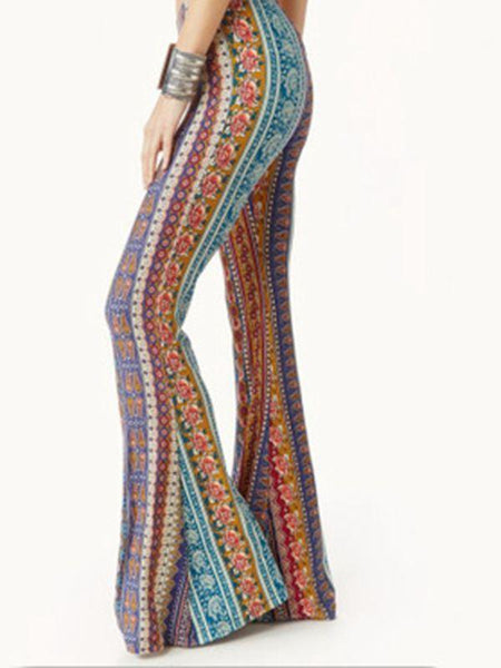 Wholesale Retro Print Stripe Tight Type Flared Pants
