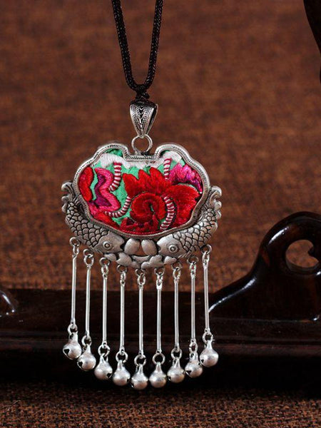 Embroidery Necklace Sweater Chain Retro Pendant