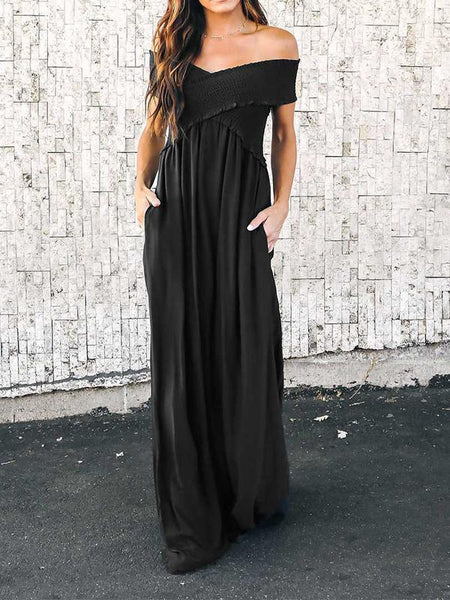 Casual Off Shoulder Sleeveless Solid Color Maxi Dress
