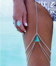 Load image into Gallery viewer, Wholesale Wild Personality Geometric Turquoise Multi-Layer Leg Chain