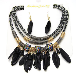 Wholesale Multilayer Alloy Feather Tassel Necklace Earrings Set