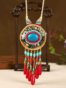 Wholesale Hand-woven Folk Style Tibet Turquoise Spike Long Necklace