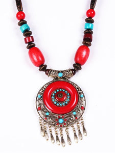 Wholesale Bohemian Ethnic Style Hand-Woven Colorful Jewel Necklace