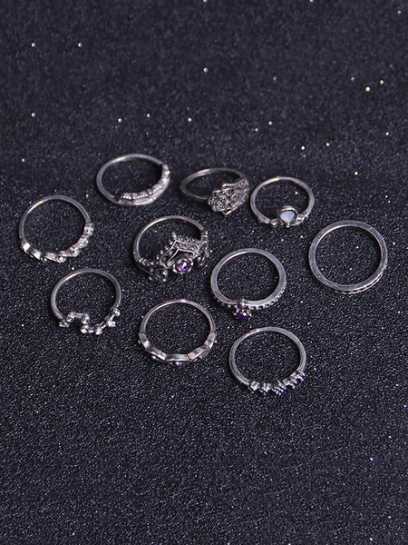 Wholesale 10Pcs Vintage Crown Rings Accessories