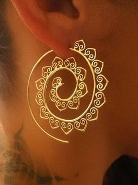 Wholesale Retro Alloy Heliciform Hollow Earrings