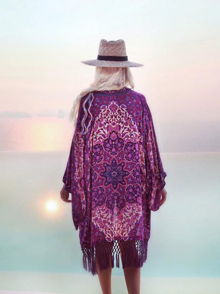 Wholesale Chiffon Printed Tassel Cardigan Beach Bikini Cover Up