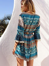 Load image into Gallery viewer, Pretty Bohemia Floral with Tie Half Sleeve Mini Vacation Dress
