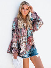 Load image into Gallery viewer, Bohemia V Neck Long Sleeve Floral Print T-Shirt Tops
