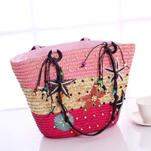 Load image into Gallery viewer, Bohemia Starfish Embroidery Seaside Holiday Beach Straw Shoulder Bag