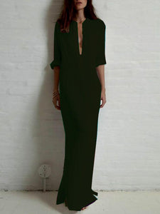 Wholesale Solid Color Split-side Stand Collar Maxi Dress