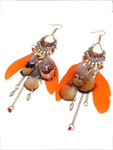 Load image into Gallery viewer, Wholesale Beautiful Bohemia Tassel Feather Shape Style Long Earrings
