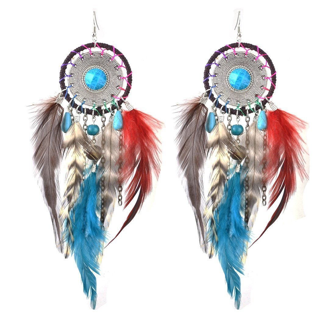 Wholesale 5 Colors Bohemia Feather Dream Catcher Tassels Earrings Accessories