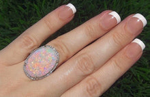 Load image into Gallery viewer, Large Natural Gemstone Opal Sparkling Ring Jewelry