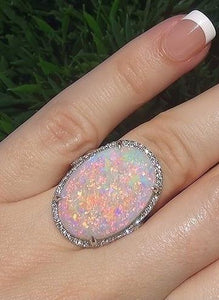 Large Natural Gemstone Opal Sparkling Ring Jewelry