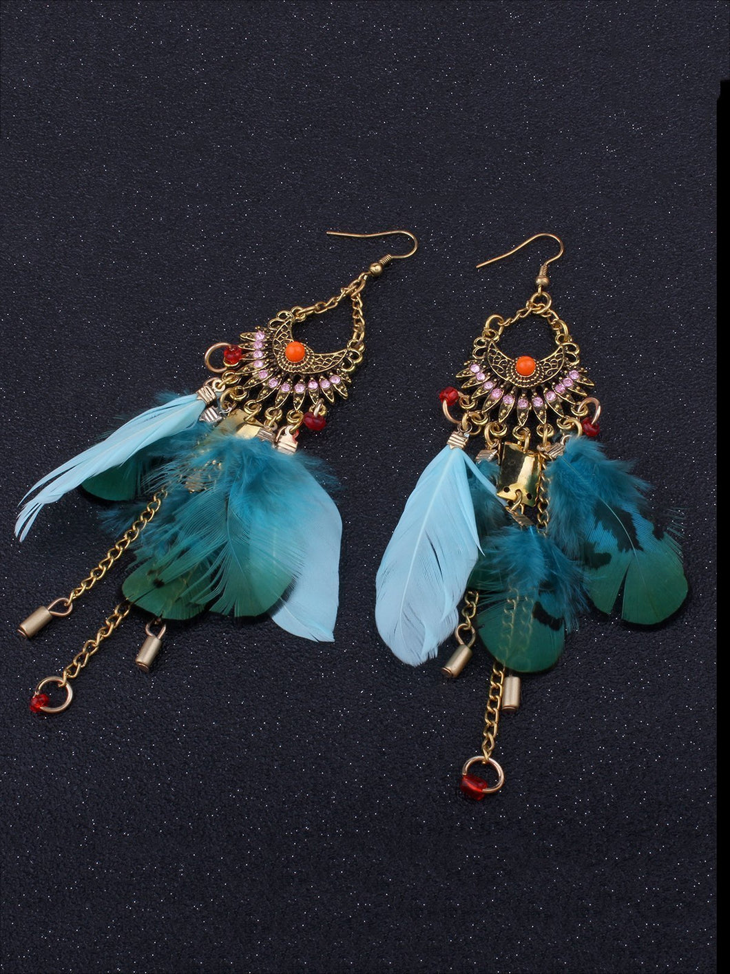 Wholesale Beautiful Bohemia Tassel Feather Shape Style Long Earrings