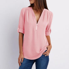 Load image into Gallery viewer, Solid Color V Neck Summer T Shirt Blouse
