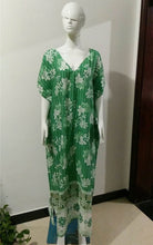 Load image into Gallery viewer, Human Cotton Positioning Printing Green V-Neck Bikini Blouse Midi Dress