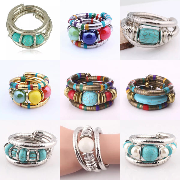 Wholesale Multilayer Bohemian Turquoise Flexible Bracelet