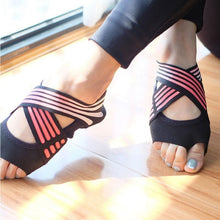 Load image into Gallery viewer, Wholesale Anti-slip Fitness Dance Pilates Socks Professional Indoor Yoga Sock  Five Toe Backless Fitness Ballet Ladies Socks